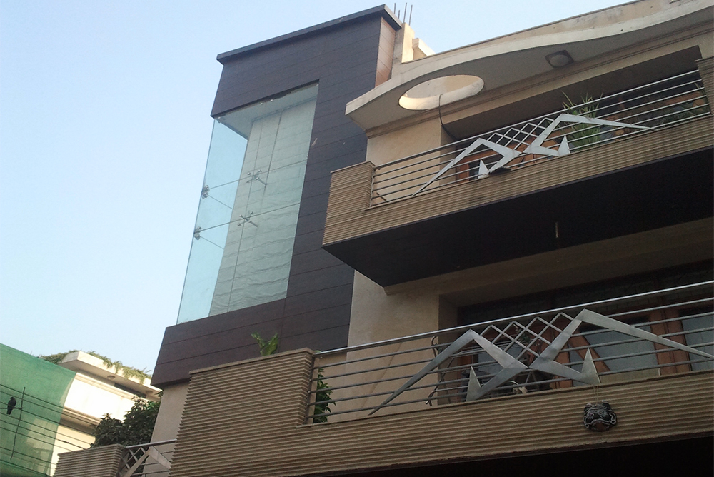Facade waterproof exterior wooden panel delhi gurgaon for Exterior facade ideas